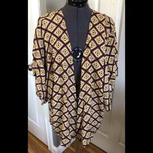 NWT Tori Praver Aztec Kimono Open Front Top - L